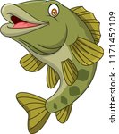 cartoon bass fish isolated on... | Shutterstock .eps vector #1171452109