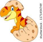 cartoon funny dinosaur hatching | Shutterstock .eps vector #1171454749