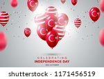 flag of turkey on balloon.... | Shutterstock .eps vector #1171456519