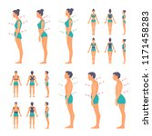correct and incorrect posture... | Shutterstock .eps vector #1171458283