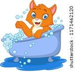 cartoon funny cat bathing time   Shutterstock .eps vector #1171462120