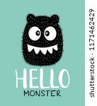 monster drawing and text  ... | Shutterstock .eps vector #1171462429