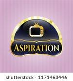 golden badge with old tv ... | Shutterstock .eps vector #1171463446