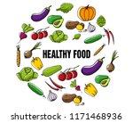 set of fresh seasonal... | Shutterstock .eps vector #1171468936