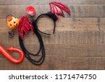 halloween decorations and...   Shutterstock . vector #1171474750