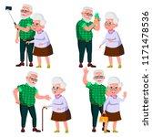 Elderly Couple Set. Grandfathe...