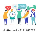 charactes of people holding... | Shutterstock .eps vector #1171481299
