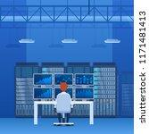 server rack  network station ... | Shutterstock .eps vector #1171481413