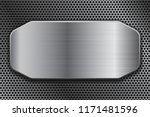 brushed metal plate on... | Shutterstock .eps vector #1171481596