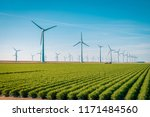 offshore windmill farm in the... | Shutterstock . vector #1171484560