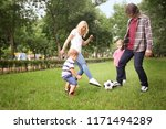 happy family playing football... | Shutterstock . vector #1171494289