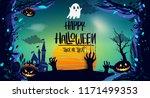 happy halloween poster  night... | Shutterstock .eps vector #1171499353