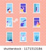 people in window frames.... | Shutterstock .eps vector #1171513186