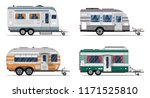 side view camping trailers... | Shutterstock . vector #1171525810