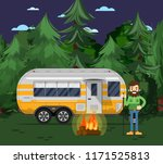 tourist camp poster with man ... | Shutterstock . vector #1171525813