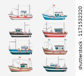 fishing boats side view... | Shutterstock . vector #1171532320