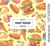 tasty fast food poster with... | Shutterstock . vector #1171532356