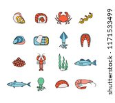 set of colorful seafood icons   Shutterstock .eps vector #1171533499