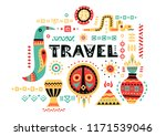 vector tourist poster with hand ... | Shutterstock .eps vector #1171539046