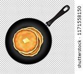 pancakes in frying pan white...   Shutterstock .eps vector #1171558150