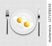 plate with fried egg heart fork ...   Shutterstock .eps vector #1171558153