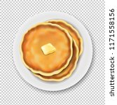 plate with pancake isolated... | Shutterstock .eps vector #1171558156