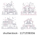 vector thin line icon suburban... | Shutterstock .eps vector #1171558336