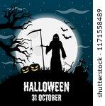 happy halloween vector poster ... | Shutterstock .eps vector #1171558489
