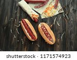 fast food.hot dogs with sauce... | Shutterstock . vector #1171574923