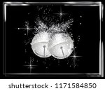 silver frame with garland and... | Shutterstock .eps vector #1171584850