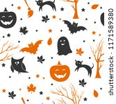 seamless halloween pattern with ... | Shutterstock .eps vector #1171589380