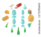 winemaking icons set. cartoon...   Shutterstock . vector #1171590643