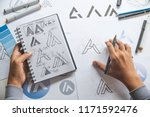 graphic designer drawing sketch ... | Shutterstock . vector #1171592476