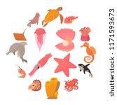 ocean animals fauna icons set....   Shutterstock . vector #1171593673