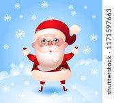 happy santa claus is under the...   Shutterstock .eps vector #1171597663