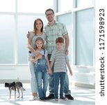 family with two children... | Shutterstock . vector #1171598923