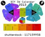 3d diy calendar 2013 3 1    2 9 ...   Shutterstock .eps vector #117159958
