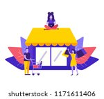 large store. people do shopping ... | Shutterstock .eps vector #1171611406