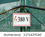 380 v sign of electrical hazard ... | Shutterstock . vector #1171629160