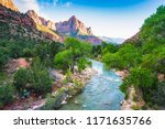 beautiful zion national park on ... | Shutterstock . vector #1171635766