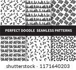 6 doodle patterns. beautiful... | Shutterstock .eps vector #1171640203