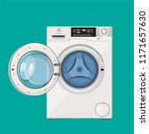 washing machine with open and... | Shutterstock .eps vector #1171657630