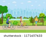 couple riding bicycles in... | Shutterstock .eps vector #1171657633