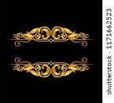 gold baroque ornament on black  | Shutterstock .eps vector #1171662523