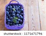 basket full of delicious plums  ... | Shutterstock . vector #1171671796