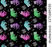 seamless halloween pattern with ... | Shutterstock .eps vector #1171689250