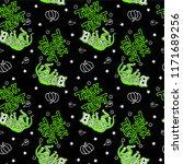 seamless halloween pattern with ... | Shutterstock .eps vector #1171689256