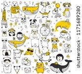 vector set of cute doodle... | Shutterstock .eps vector #1171689280
