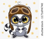 cute cartoon raccoon in a pilot ... | Shutterstock .eps vector #1171694740