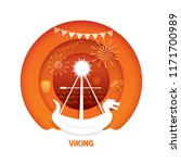 viking with paper cut style....   Shutterstock .eps vector #1171700989